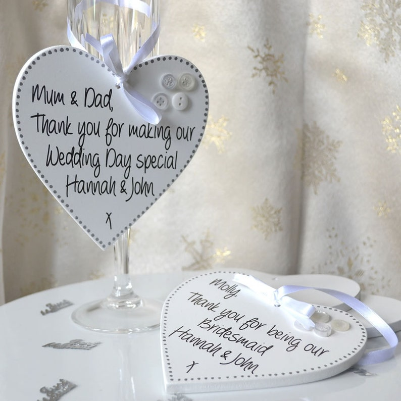 Handpainted wedding favour plaque personalised message for image 0