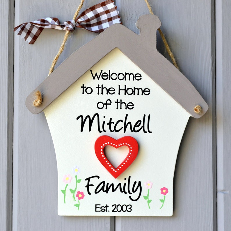 Personalised welcome to our home plaque with heart image 0