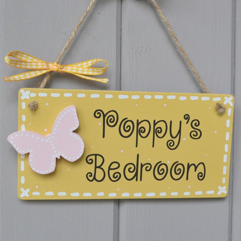 Personalised yellow wooden door plaque for childrens bedroom image 0