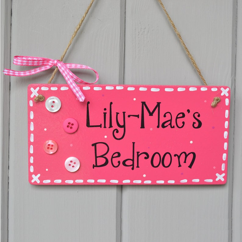 Personalised berry pink door plaque with button embellishment image 0