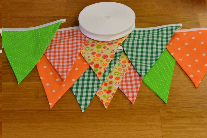 Citrus coloured bunting in oranges and greens double sided image 0