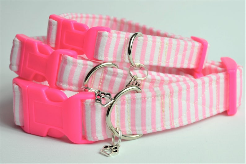 Pink stripe print hand made adjustable fabric covered dog image 0