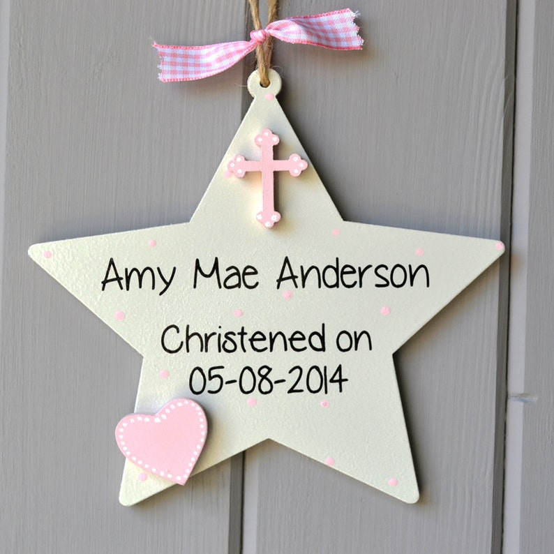 Christening details plaque. Personalised baby girl christening image 0