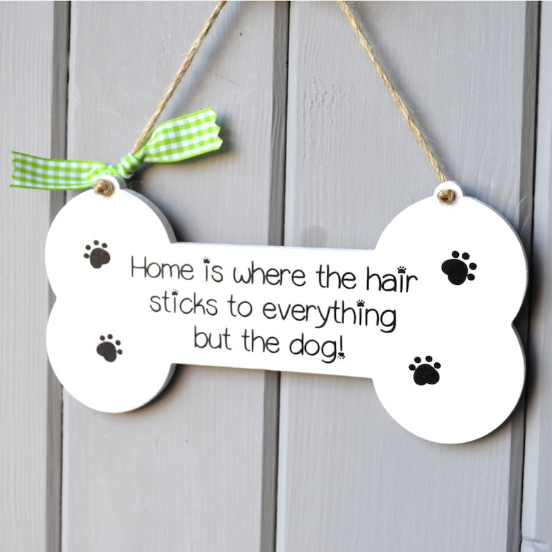 Handpainted novelty dog lover sign home is where the hair image 0