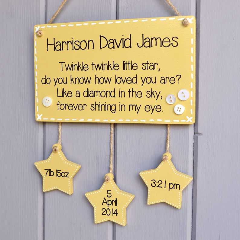 Personalised gift and birth keepsake sign new baby birth image 0