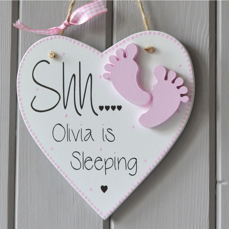 Shh Baby Sleeping Plaque. Personalised baby girl gift and image 0