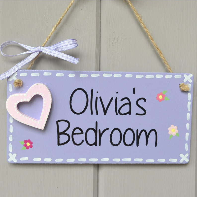 Personalised lilac door plaque with heart embellishment and image 0