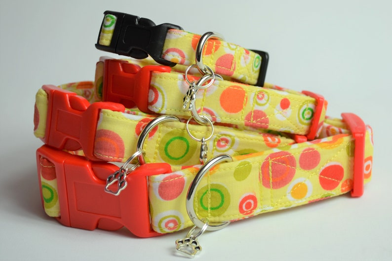Retro Citrus spot hand made adjustable fabric covered dog image 0
