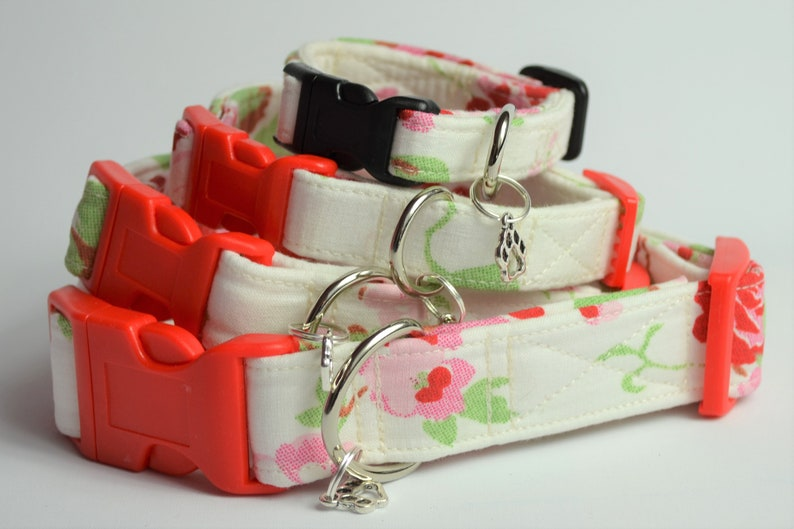 White rose  hand made adjustable fabric covered dog collar image 0