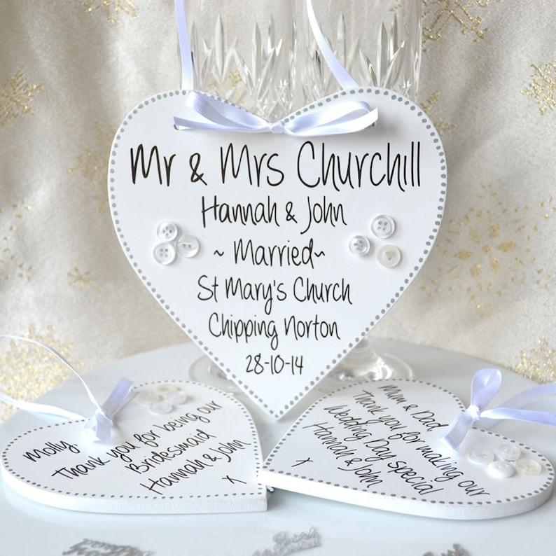 Handpainted wedding keepsake plaque personalised wedding image 0
