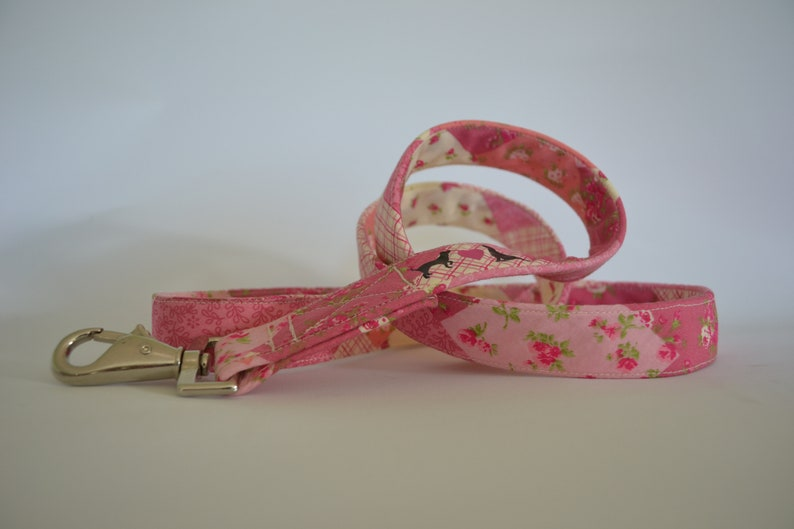 Pink Patchwork hand made dog Lead available in two widths image 0