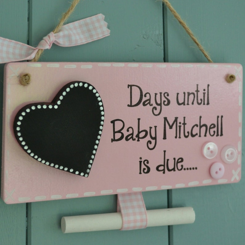 Personalised days until baby is due chalkboard pregnancy image 0