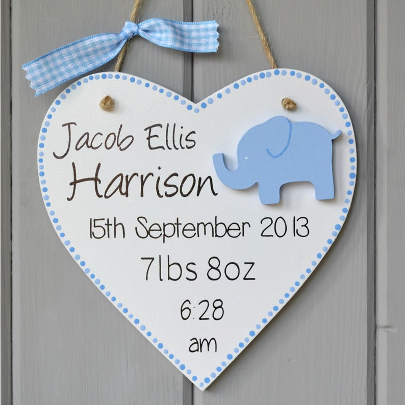 Personalised new baby plaque. Personalised baby boy gift and image 0