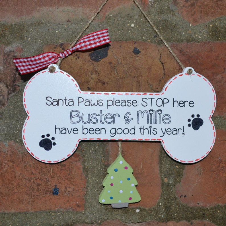 Handpainted personalised novelty dog lover sign Santa Paws image 0