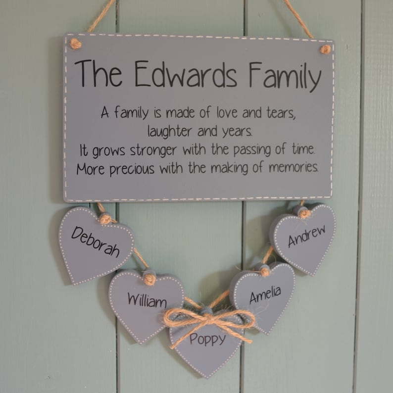 Family meaning plaque personalised names sign new parent image 0