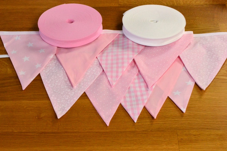 Pale pink double sided fabric bunting 10 15 or 20 flags. image 0