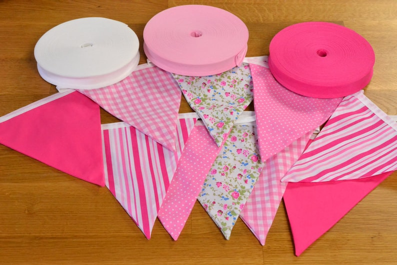 Mixed Pink double sided fabric bunting 10 15 or 20 flags. image 0