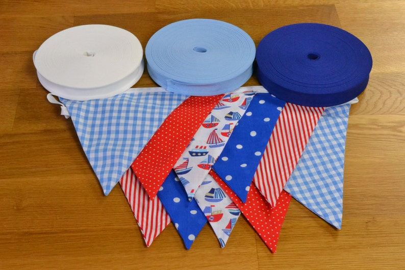 Nautical themed double sided fabric bunting in blue and red image 0