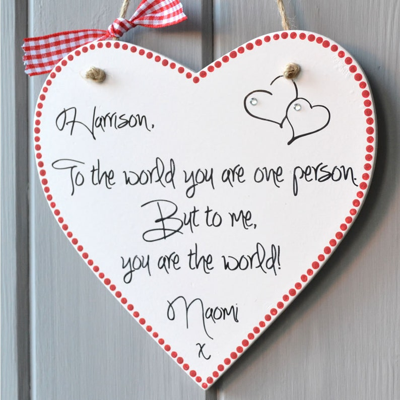 Valentine Message Heart plaque personalised with two names image 0