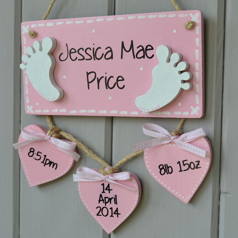 Baby birth details plaque Personalised baby gift and Birth image 0