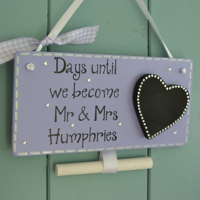 Personalised days until wedding chalkboard engagement gift image 0