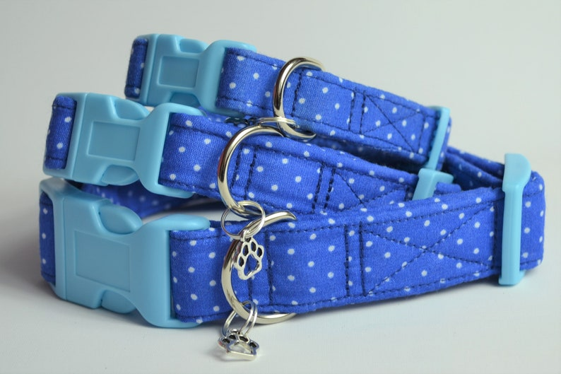 Blue Spotty hand made adjustable fabric covered dog collar image 0