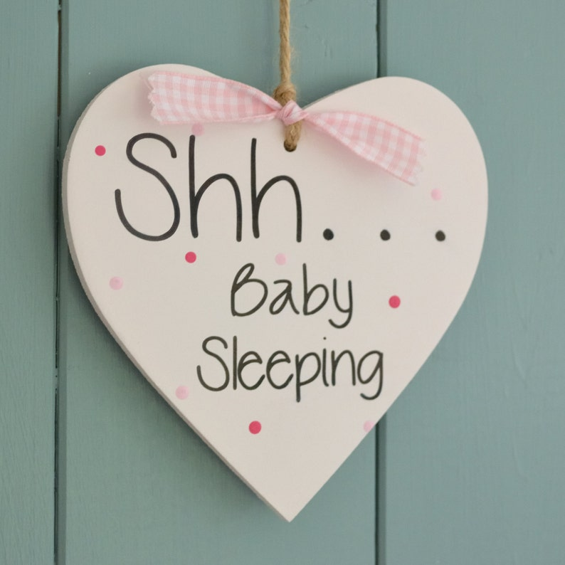 Shh Baby Sleeping heart blue or pink lovely new baby gift image 0