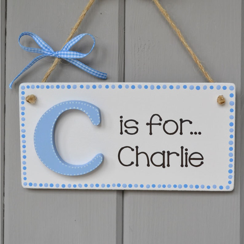 Personalised Alphabet plaque baby boy gift and Keepsake hand image 0