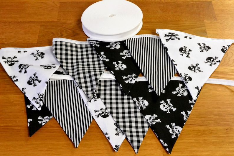 Black and White Pirate double sided fabric bunting 10 15 or image 0