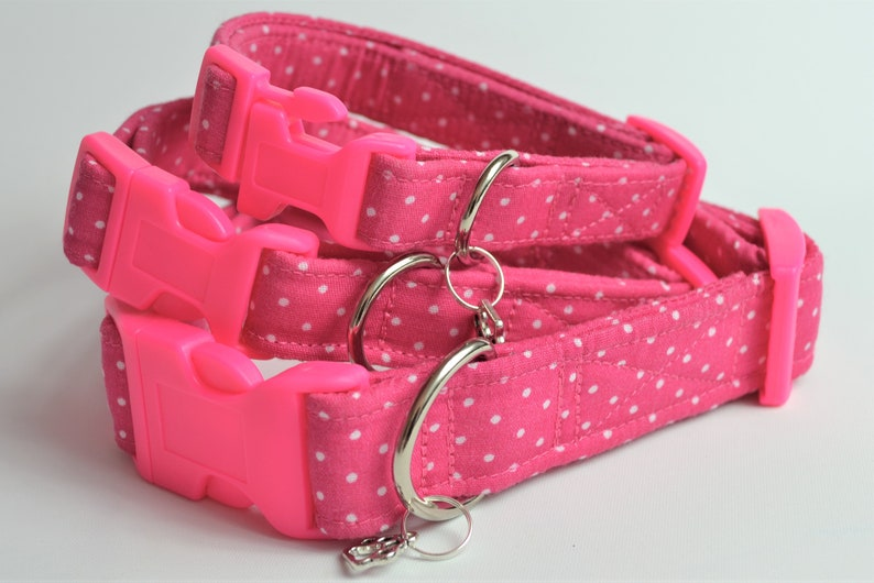Pink spot hand made adjustable fabric covered dog collar image 0