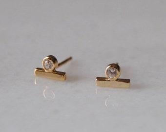 Gold cz earrings | Etsy