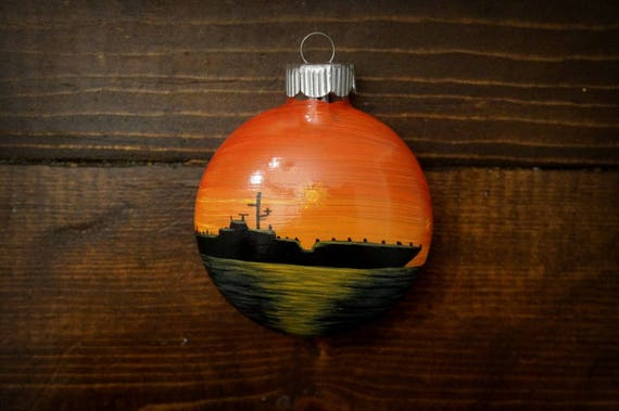 Hand Painted Aircraft Carrier Christmas Ornament | Etsy