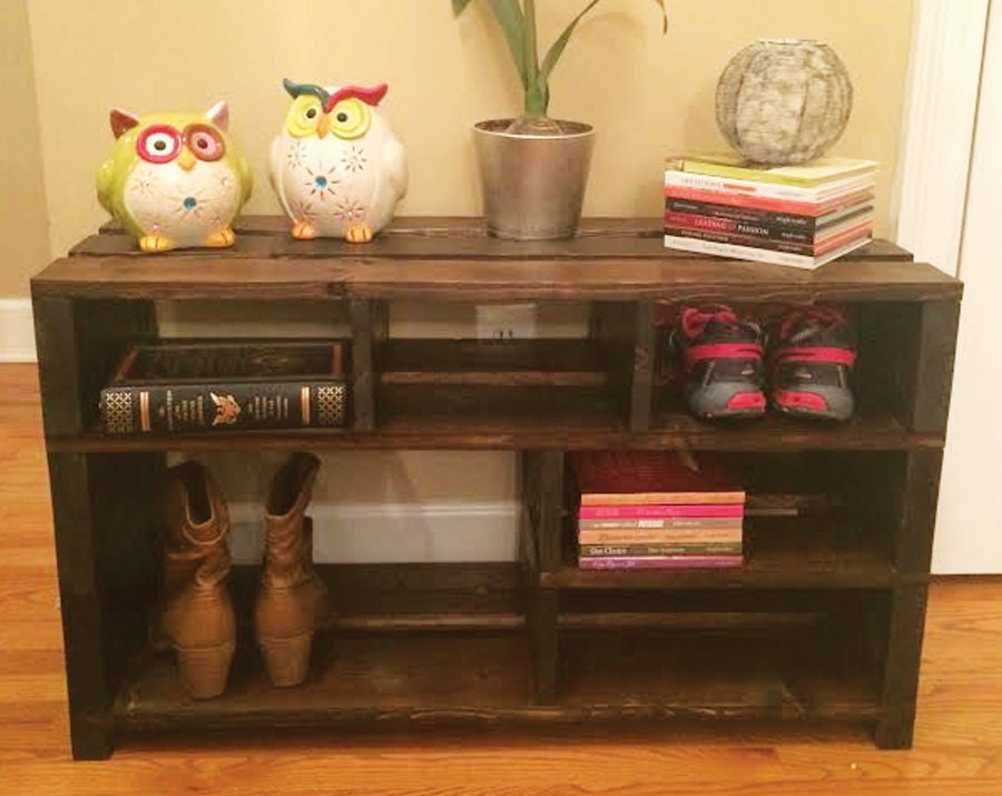 Handmade Shoe Storage Bench Shelving // Shoe Rack // Wood Storage //  Entryway Foyer Mudroom