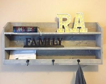 Handmade Rustic Wooden Storage Shelf Coat Rack - Choose Your Stain Color