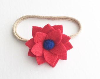 Felt flower headband, felt flower clip, red baby headband, nylon headband, 4th of july headband, toddler hair clips,