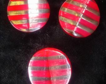 Art Deco Bakelite Red /& Yellow Stripe Buttons x3