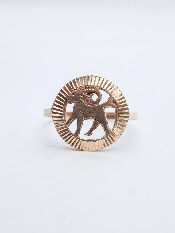 Vintage 9ct Gold 1974 Aries Ram Horoscope Zodiac S