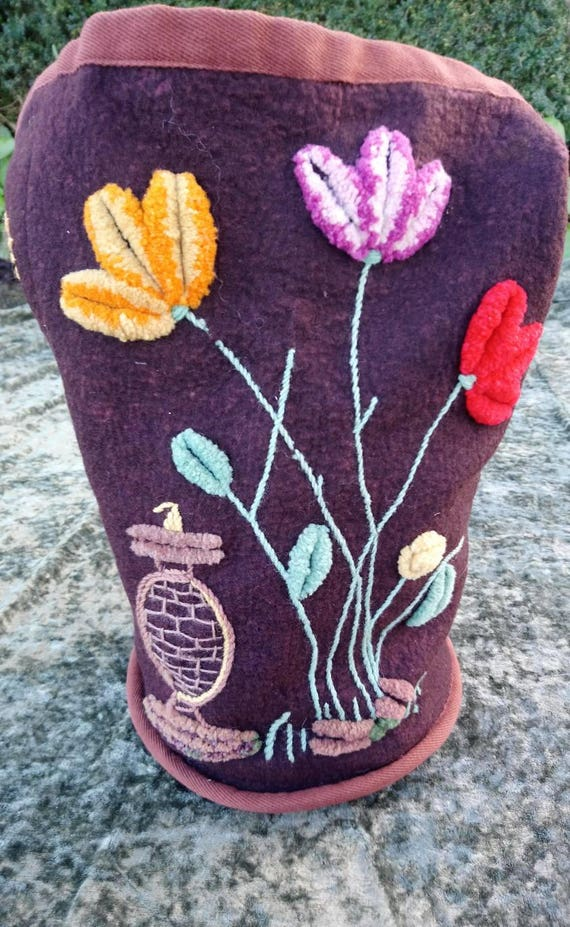 1930s Embroidered Wool Bucket Bag