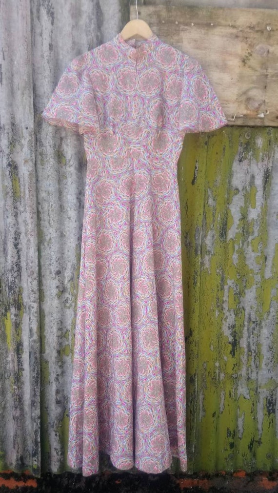 1970s Psychedelic Print Maxi with Angel Sleeves, K