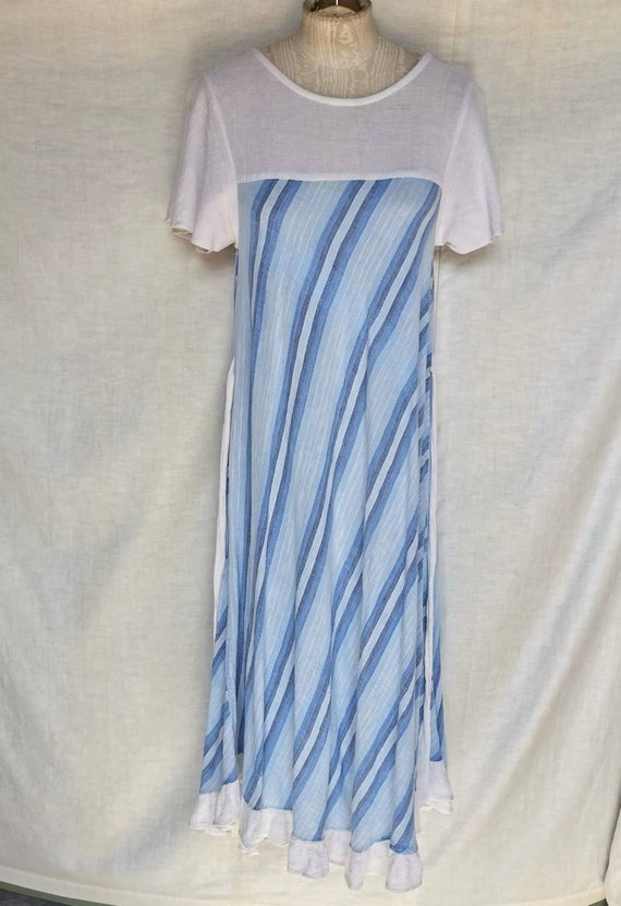 Vintage Cotton Cheesecloth Bias Cut Stripe Dress w