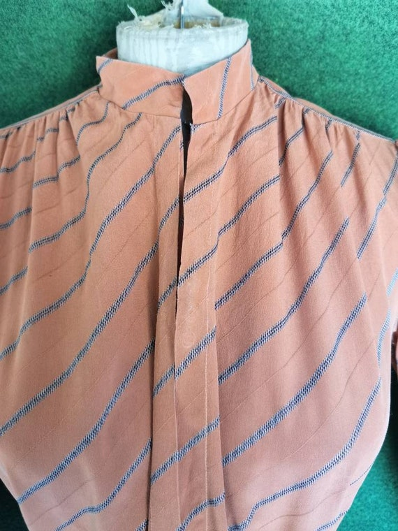 Vintage 1920s Style Silk Day Dress with Mandarin … - image 6