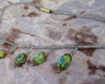 """Antique Venitian Glass Bead Necklace 14"""" Short"""