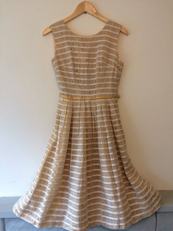1950s Gold Lurex & Calico Dress
