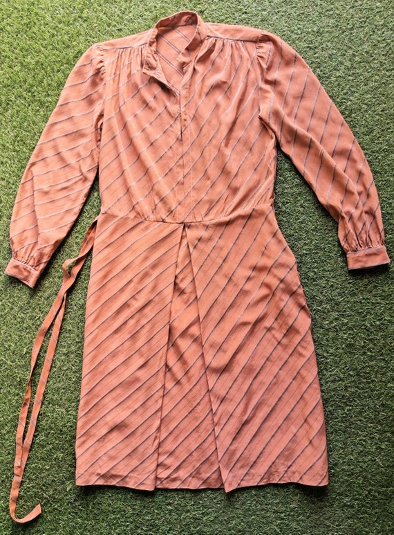 Vintage 1920s Style Silk Day Dress with Mandarin … - image 7