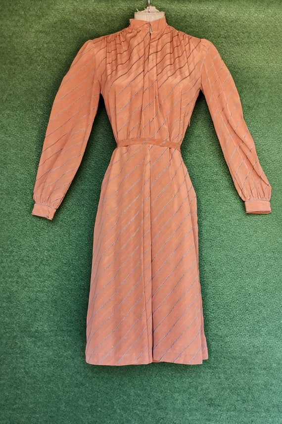 Vintage 1920s Style Silk Day Dress with Mandarin C