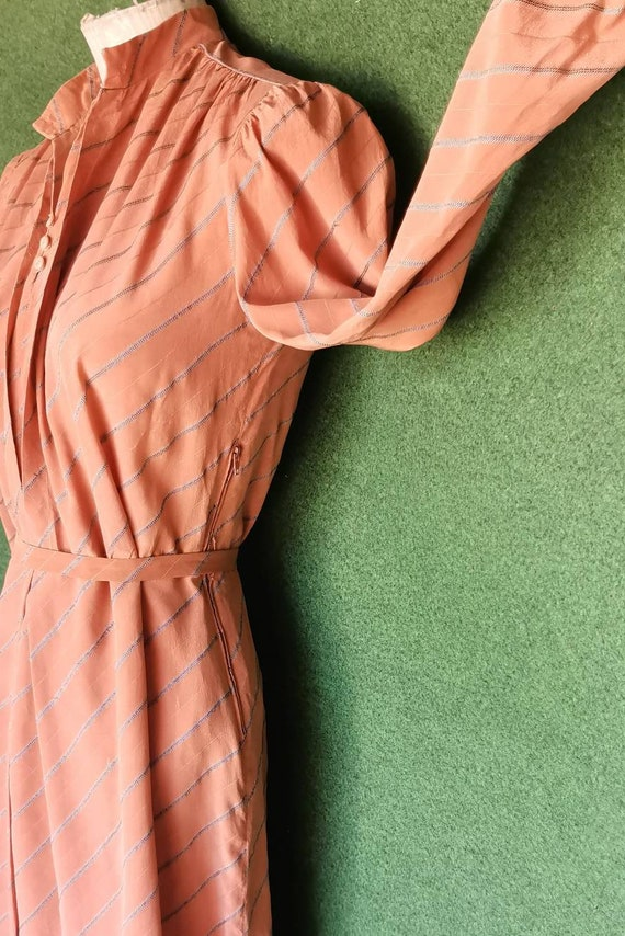 Vintage 1920s Style Silk Day Dress with Mandarin … - image 3