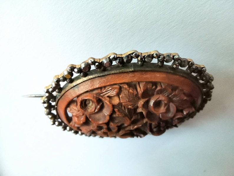 Antique Cut Steel /& Carved Wood Brooch