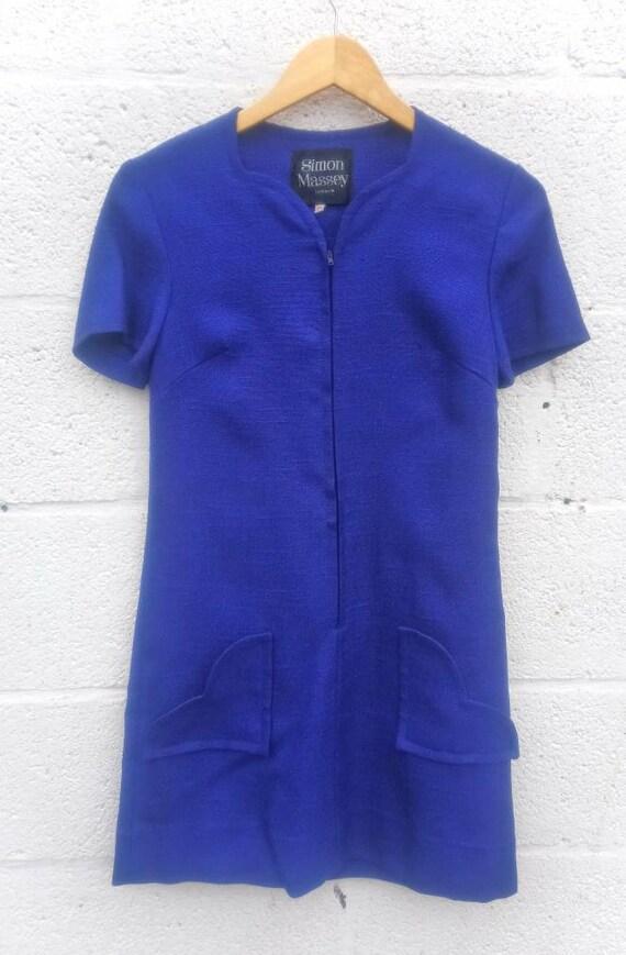 1960s Simon Massey Navy Blue Linen Mini Dress with