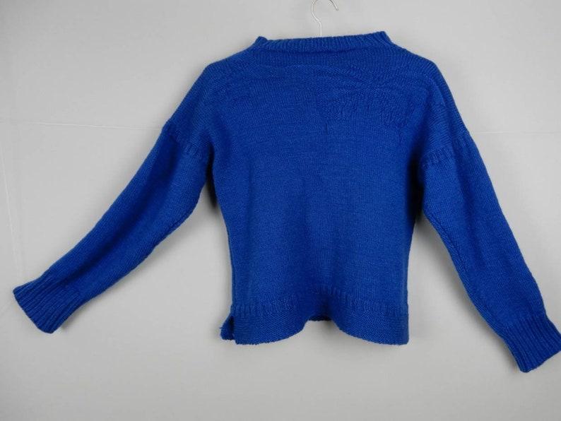 b65a03b5736 Handknit Blue Wool Traditional Guernsey Gansey with Butterflies