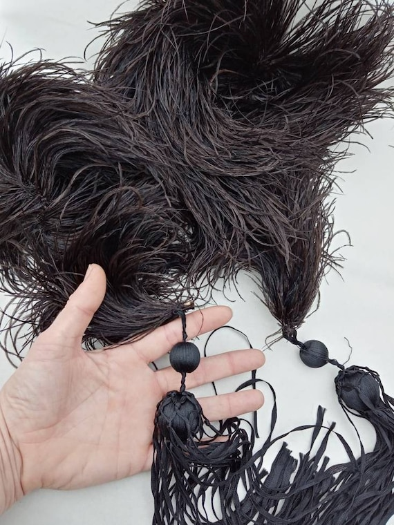 Antique Black Ostrich Feather Boa with Ribbon Tass